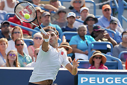 August 19, 2018 - Mason, Ohio, USA - Roger Federer, (SUI) in action during Sunday's final round of the Western and Southern Open at the Lindner Family Tennis Center, Mason, Oh. (Credit Image: © Scott Stuart via ZUMA Wire)