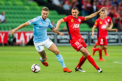 February 9, 2019 - Melbourne, VIC, U.S. - MELBOURNE, AUSTRALIA - February 09 : Bart Schenkeveld of Melbourne City and Jordy Thomassen of Adelaide United contest the ball during round 18 of the Hyundai A-League Series between Melbourne City and Adelaide United on February 9 2019, at AAMI Park in Melbourne, Australia. (Photo by Jason Heidrich/Icon Sportswire) (Credit Image: © Jason Heidrich/Icon SMI via ZUMA Press)