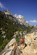 A visitor on the Cascade Canyon Trail, Grand Teton National Park, Wyoming. (MR)