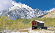 """Colorado. Ashcroft ghost town, formally called """"Crazy Culver"""" and """"Castle Forks City""""  in fall with snow, These United States Book Page 192 Bottom:"""