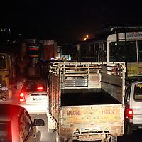 Asia, India, Jaipur. Traffic congestion at night in Jaipur.