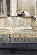 Local sleeping at a temple in Jaipur, Rajasthan, India