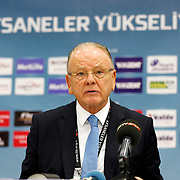 Anadolu Efes's Dusan Ivkovic answers the questions from the media during their Turkish Basketball Spor Toto Super League match Besiktas between Anadolu Efes at the Abdi ipekci arena in Istanbul, Turkey, Saturday 14, November 2015. Photo by Aykut AKICI/TURKPIX