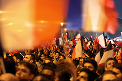 May 7, 2017 - Paris, FRANCE - Supporters of France's newly elected president, Emmanuel Macron, cheer on as he addresses a crowd of well-wishers at the Louvre in Paris, on May 7, 2017.  Macron won the presidency over nationalist leader Marine Le Pen. (Credit Image: © Maya Vidon-White via ZUMA Wire)