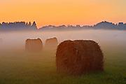 Bales and fog at twilight<br /> Near Espanola<br /> Ontario<br /> Canada