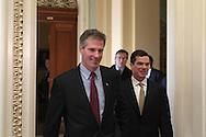 Scott Brown,senator elect, leaves the office of Majority Leader Harry Reid.  Photo by Dennis Brack