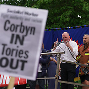 London,England,UK : 27th June 2016 : Speaker of the Matthew D. Wrack is a British firefighter and trade unionist addresses the crowd KeepCorbyn protest against coup and Build our movement  at Parliament Square, London,UK. photo by See Li