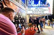 Attendees gather outside the venue at the screening of Blood Road at the Bluebird Theater in Denver, CO, USA on 27 June, 2017.