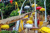 Bali, Badung, Perean. A small village south of Bedugul. Very colourful temple decorations.
