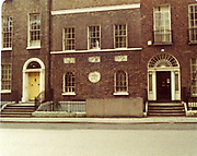 Old amateur photos of Dublin streets churches, cars, lanes, roads, shops schools, hospitals May 1984 Eccles St Interior number 4 door ways, knockers, railings,