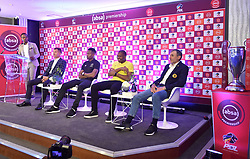 South Africa: Johannesburg: Sports Anchor Andile Ncube, Orlando Pirates coach Milutin Sredojevic, captain Happy Jele, Kaizer Chiefs Captain Itumeleng Khune and Chiefs coach Giovanni Solinas, poses photographs at the PLS officers in Parktown, after addressing members of the media on the much anticipated Soweto Derby on Saturday when Orlando Pirates host rivals Kaizer Chiefs for Absa Premiership match at FNB Stadium.<br />Picture: Itumeleng English/African News Agency (ANA)<br />929<br />24.10.2018