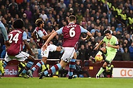 Jesus Navas of Manchester city ® looks to go past three Aston Villa players.  Barclays Premier league match, Aston Villa v Manchester city at Villa Park in Birmingham, Midlands  on Sunday 8th November 2015.<br /> pic by  Andrew Orchard, Andrew Orchard sports photography.