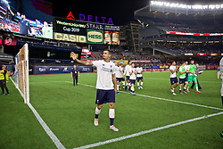 NEW YORK, NEW YORK, USA - Wednesday, July 24, 2019: Liverpool's Dejan Lovren waves to supporters after a friendly match between Liverpool FC and Sporting Clube de Portugal at the Yankee Stadium on day nine of the club's pre-season tour of America. The game ended in a 2-2 draw. (Pic by David Rawcliffe/Propaganda)