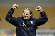 Preston North End manager Simon Grayson celebrates the win during the Sky Bet Championship match between Wolverhampton Wanderers and Preston North End at Molineux, Wolverhampton, England on 13 February 2016. Photo by Alan Franklin.