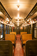 "A 1908 BMT Q car, rebuilt in 1938 to service the 1939 ""World of Tomorrow"" World's Fair, and repainted in the Fair colors of blue and orange. This series of cars was the last of the wooden-bodied subway cars in service, finally retired in 1969."