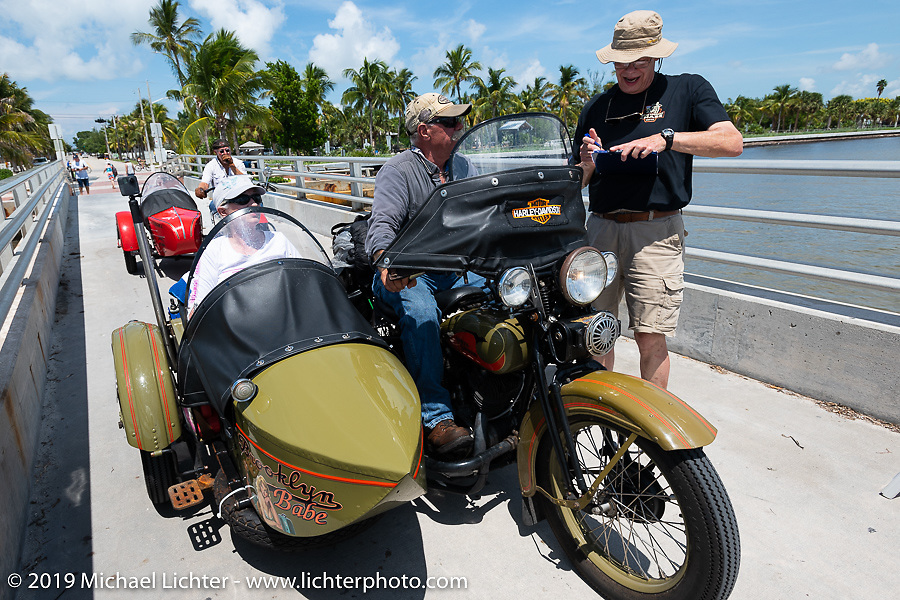 Bill Reese on his Brooklyn Babe 1933 Harley-Davidson VLE with sidecar at the final checkpoint before the finish during the Cross Country Chase motorcycle endurance run from Sault Sainte Marie, MI to Key West, FL. (for vintage bikes from 1930-1948). The staging area on a Key West pier just before the finish and near the end of the 110 mile Stage-10 ride from Miami to Key West, FL USA. Sunday, September 15, 2019. Photography ©2019 Michael Lichter.