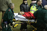 Non Evans, injury playing for Wales v France, Sardis Road, Pontypridd. March 2006. pic by Andrew Orchard
