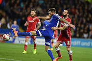 Daryl Murphy of Ipswich Town holds off John Brayford of Cardiff.Skybet football league championship match, Cardiff city v Ipswich Town at the Cardiff city stadium in Cardiff, South Wales on Tuesday 21st October 2014<br /> pic by Andrew Orchard, Andrew Orchard sports photography.