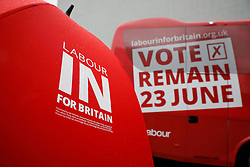 © Licensed to London News Pictures. 10/05/2016. London, UK. LABOUR IN FOR BRITAIN signage on an umbrella in front of a new Labour battle bus parked before it's official unveiling by Labour Party leader Jeremy Corbyn and Alan Johnson, Chairman of 'Labour In for Britain'.  Gloria De Piero, Shadow Minister for Young People and Voter Registration is also due to attend. Photo credit: Peter Macdiarmid/LNP