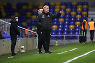 AFC Wimbledon manager Glyn Hodges pointing whilst stood on touchline during the EFL Trophy match between AFC Wimbledon and U21 Arsenal at Plough Lane, London, United Kingdom on 8 December 2020.