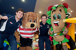 Subway Healthier Way Subs Donny Dog the Doncaster Rovers Mascott, Doncaster Knights Tristan Roberts (left) and Steve Bowden (right) with Subman..28 October 2010 .Images © Paul David Drabble