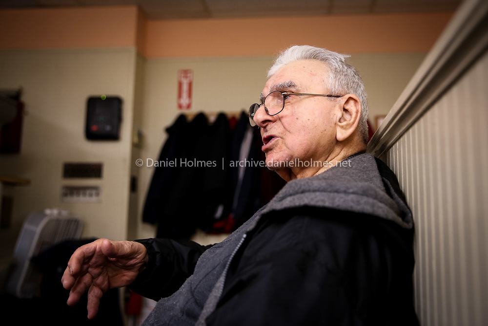 (5/1/14, BELLINGHAM, MA) D-Day veteran Sal Pilla, 93, of Bellingham, talks about his World War II experiences at the Market Basket where he works in Bellingham on Thursday. Daily News and Wicked Local Photo/Dan Holmes