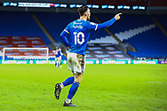 CELE Cardiff City's Kieffer Moore (10) celebrates scoring his side's equalising goal to make the score 1-1 during the EFL Sky Bet Championship match between Cardiff City and Millwall at the Cardiff City Stadium, Cardiff, Wales on 30 January 2021.