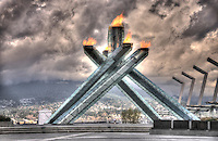 The Olympic Cauldron as shot through the original fence.