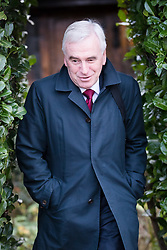 © Licensed to London News Pictures. 22/11/2017. London, UK. JOHN MCDONNELL, Labour Shadow Chancellor leaving his London home as he heads for Parliament on Budget day. Photo credit: Vickie Flores/LNP