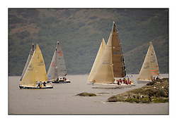 Brewin Dolphin Scottish Series 2010, Tarbert Loch Fyne - Yachting..A wet start for day 2 of the series with consistant winds...IRC Class 4 tack in to the shore with GBR6423T ,Flint 2 ,Howard & Sam Dryden ,Port Edgar YC ,J80m 3330C ,Good Craic ,Douglas Armstrong ,CCC ,Elan 333......