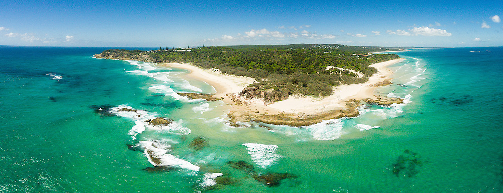Aerial panoramic photograph of Frenchman's Beach (left) and Deadman's Beach (right), Point Lookout, N. Stradbroke Island, Queensland, Australia