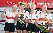 Amsterdam. NETHERLANDS.  GER W4X Gold Medalist: Bow. Annekatrin THIELE, Carina BAER, Julia<br /> LIER and Lisa SCHMIDLA, Gold  Medalist.  Bosbaan Rowing Course. 2014 World Rowing Champions . 14:30:16  Saturday  DATE}  [Mandatory Credit; Peter Spurrier/Intersport-images]