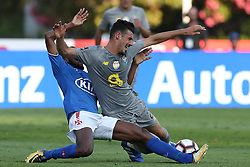August 19, 2018 - Lisbon, Portugal - Porto's Portuguese forward Andre Pereira (R ) vies with Belenenses' defender Zakarya Bergdich of Morocco during the Portuguese League football match Belenenses vs FC Porto at the Jamor stadium in Lisbon on August 19, 2018. (Credit Image: © Pedro Fiuza via ZUMA Wire)