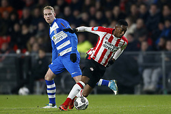 (L-R), Stef Nijland of PEC Zwolle, Joshua Brenet of PSV during the Dutch Eredivisie match between PSV Eindhoven and PEC Zwolle at the Phillips stadium on February 03, 2018 in Eindhoven, The Netherlands