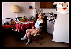 3rd Sept, 2005. Hurricane Katrina aftermath. New Orleans, Louisiana. Shocked residents of the St Christopher's Inn retirement home were abandoned by their carers on the eve of the storm and left to fend for themselves.Running low on food and water Fannie Mae Waldhauser (88yrs) tried her best to remain calm before residents were rescued six days later by New Orleans 8th district police.