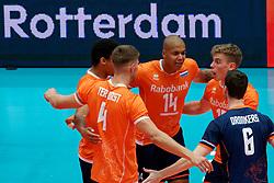 14-09-2019 NED: EC Volleyball 2019 Netherlands - Ukraine, Rotterdam<br /> First round group D - Netherlands win 3-0 / Nimir Abdelaziz #14 of Netherlands, Gijs van Solkema #15 of Netherlands
