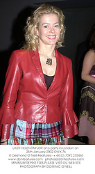 LADY HELEN TAYLOR at a party in London on 25th January 2002.OWX 76