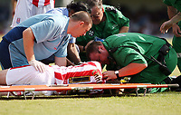 Photo: Chris Ratcliffe.<br />Southend United v Stoke City. Coca Cola Championship.<br />05/08/2006.<br />Luke Chadwick of Stoke receives treatment on pitchside before being stretchered off.