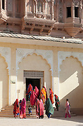 Visitors to the Mehrangarh Fort in the city of Jodhpur, Rajasthan, India