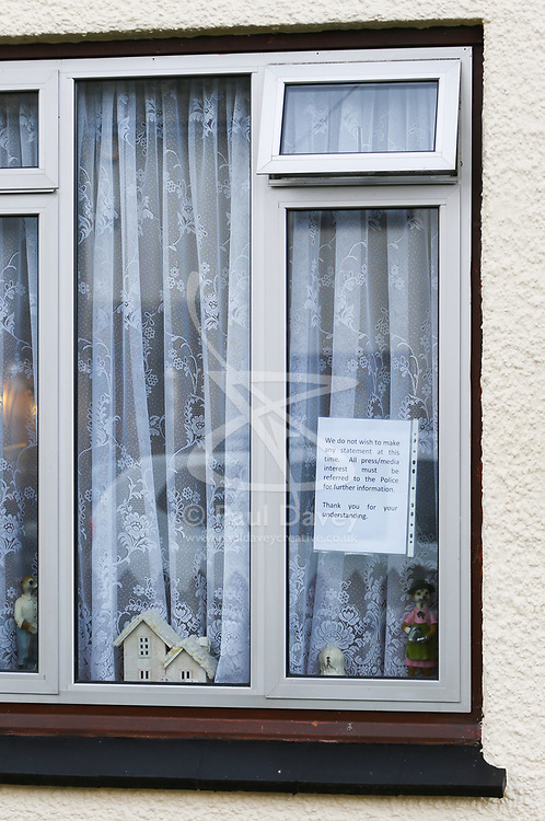 A note taped to the window notifies the media that no press statement will be made at the Sunbury home of Ron and Penny Jones, foster parents of the Parsons Green tube bomber Ahmed Hassan. PLACE, March 16 2018.
