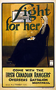 Fight for her. Come with the Irish Canadian Rangers Overseas Battalion, Montreal'  World War I recruiting poster by Hal Ross Perrigard using James McNeill Whistler's image of his mother.