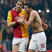 Galatasaray's Johan Elmander (L) and Milan Baros Positive emotion during their Turkish superleague soccer derby match Galatasaray between Besiktas at the TT Arena at Seyrantepe in Istanbul Turkey on Sunday, 26 February 2012. Photo by TURKPIX