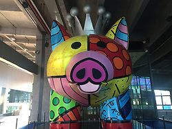July 20, 2017 - Fuzhou, Fuzhou, China - Fuzhou, CHINA-July 20 2017: (EDITORIAL USE ONLY. CHINA OUT) ..The pig sculpture created by Brazilian artist Romero Britto can be seen in Fuzhou, southeast China's Fujian Province, July 20th, 2017. (Credit Image: © SIPA Asia via ZUMA Wire)