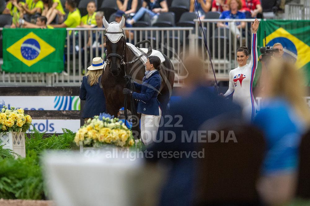 Rebecca Norval (GBR) & Edinburgh 23 lunged by Saacha De Amborossio - Vaulting Compulsories - FEI World Equestrian Games™ Tryon 2018 - Tryon, North Carolina, USA - 18 September 2018