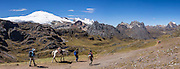 Cordillera Raura (18,757 ft / 5717 m) panorama seen from Portachuelo de Huayhuash pass. Day 4 of 9 days trekking around the Cordillera Huayhuash in the Andes Mountains, Peru, South America. This panorama was stitched from 5 overlapping photos.