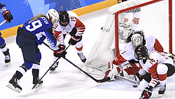February 22, 2018 - Pyeongchang, South Korea - Canada goalie SHANNON SZABADOS blocks a shot by USA's GIGI MARVIN in the first period of the Women's Gold Medal Ice Hockey game Thursday, February 22, 2018 at Gangneung Hockey Centre at the Pyeongchang Winter Olympic Games. Photo by Mark Reis, ZUMA Press/The Gazette (Credit Image: © Mark Reis via ZUMA Wire)