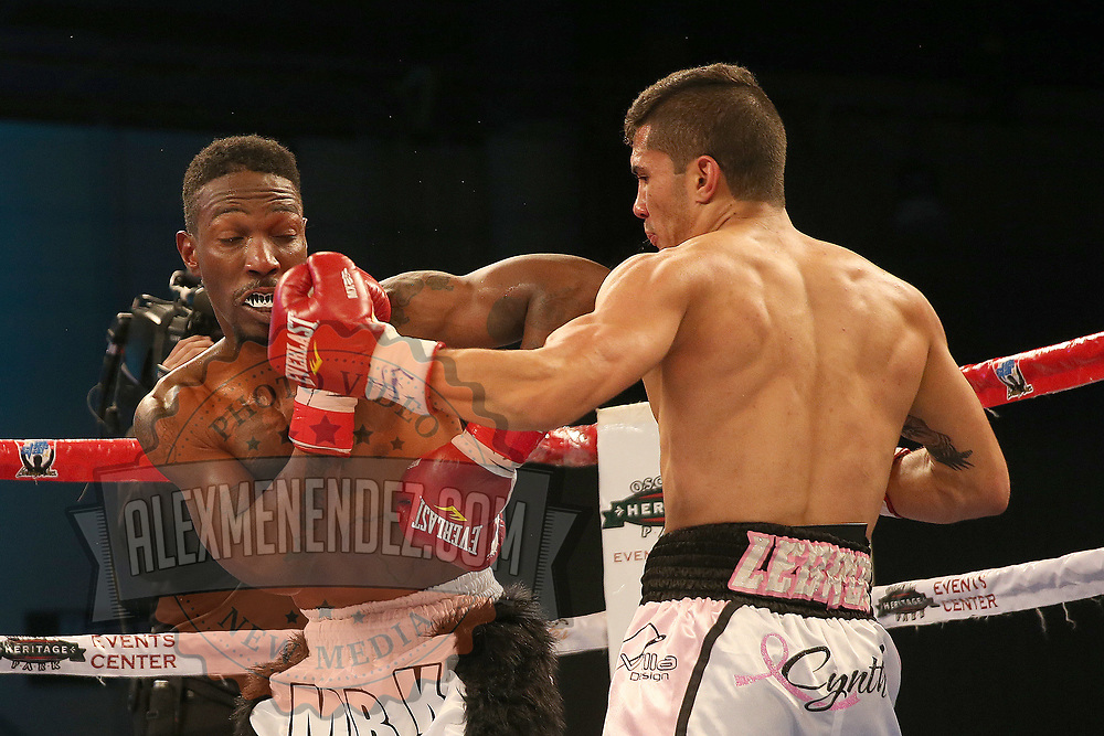 Henry Lebron lands a left hook to the face of Ronnie Jordan during a Telemundo boxing match between at Osceola Heritage Park on Friday, February 23, 2018 in Kissimmee, Florida.  (Alex Menendez via AP)