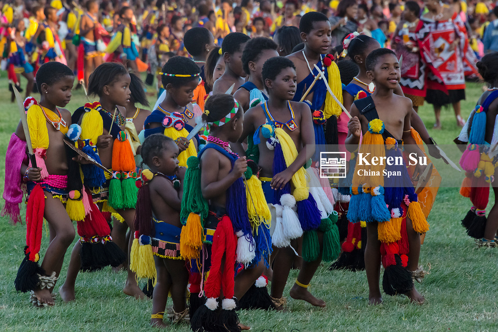 Swazi children parade at Umhlanga (Reed Dance Festival), Swaziland