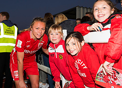Claire Emslie of Bristol City Women poses with young supporters - Mandatory by-line: Paul Knight/JMP - 09/05/2017 - FOOTBALL - Stoke Gifford Stadium - Bristol, England - Bristol City Women v Manchester City Women - FA Women's Super League Spring Series