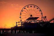 Sunset light over Ferris Wheel at the Santa Monica Beach Boardwalk Santa Monica, California